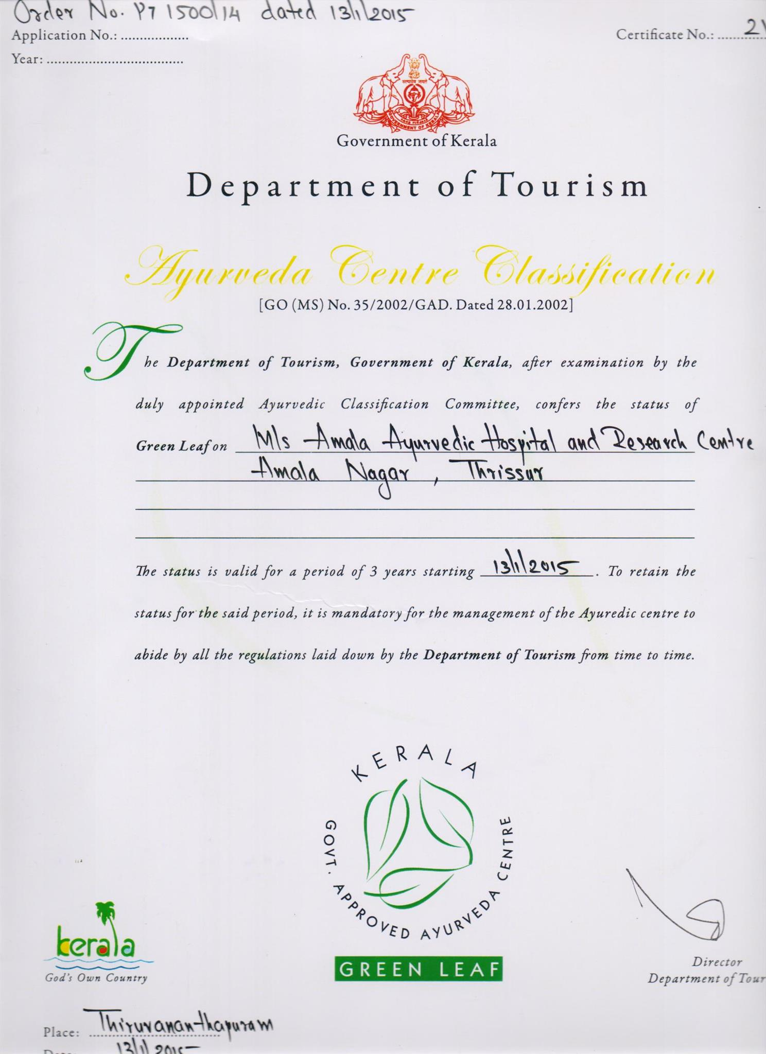 Green Leaf Certified by Government of Kerala